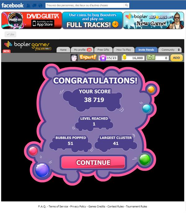 Bopler Games Bubble It Score